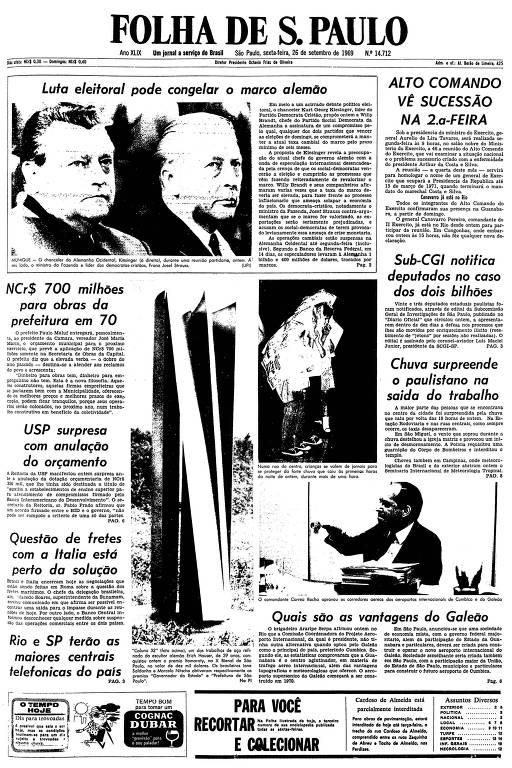 Primeira página da Folha de S.Paulo de 26 de setembro de 1969