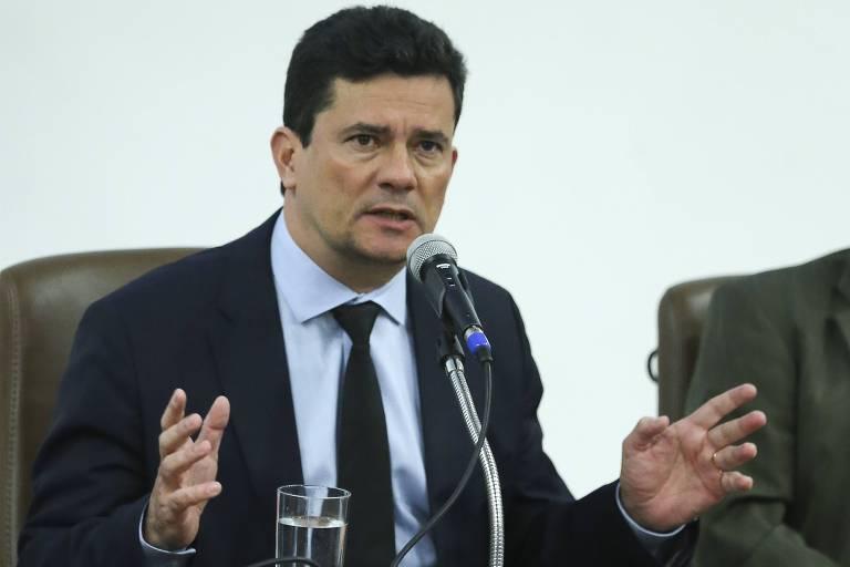O ministro da Justiça, Sergio Moro, em cerimônia de lançamento de programa de segurança pública em Brasília