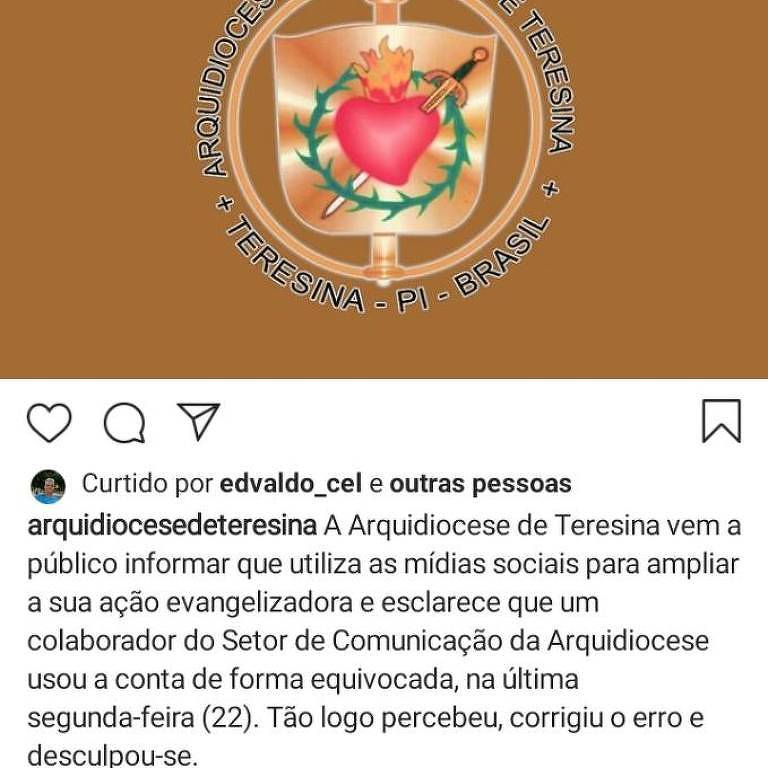 Arquidiocese de Teresina explica polêmica com curtida de foto
