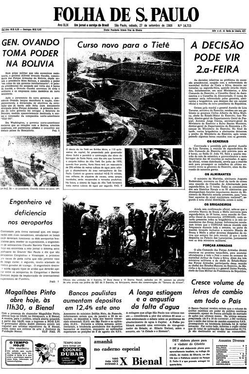 Primeira página da Folha de S.Paulo de 27 de setembro de 1969