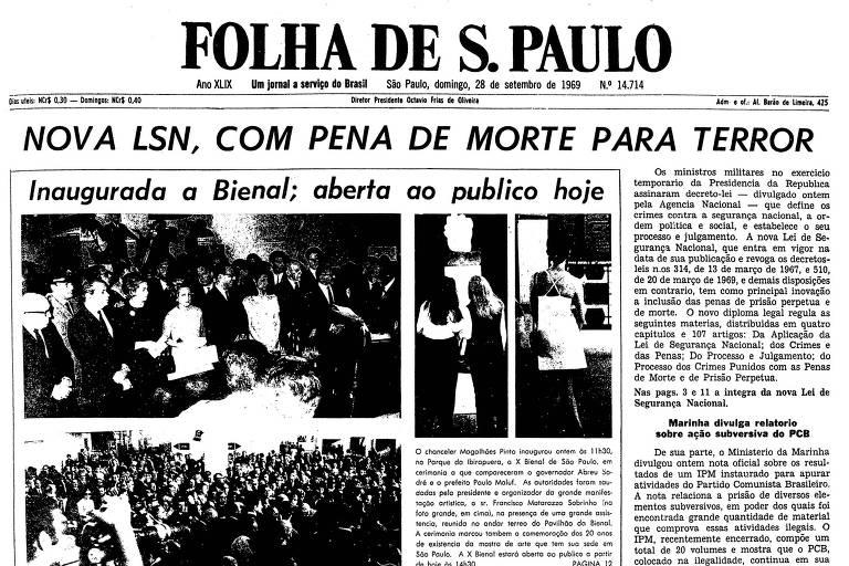 Primeira página da Folha de 28 de setembro de 1969