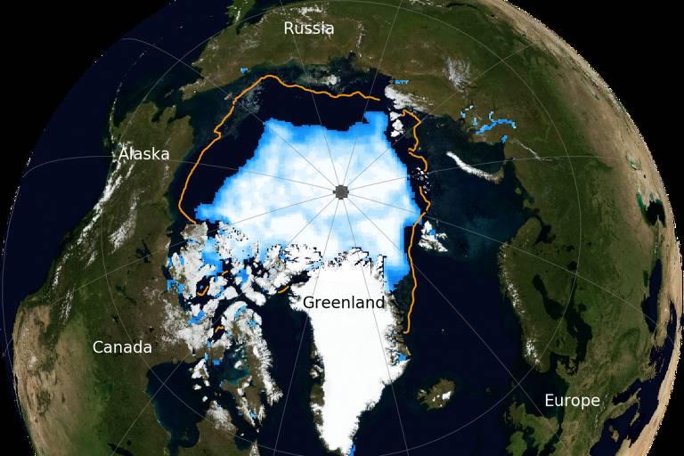 Linha laranja (média de 1981 a 2010) mostra extensão maior de gelo no Ártico no passado