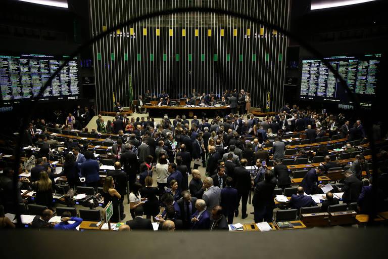 Plenário da câmara dos deputados durante sessão do Congresso Nacional