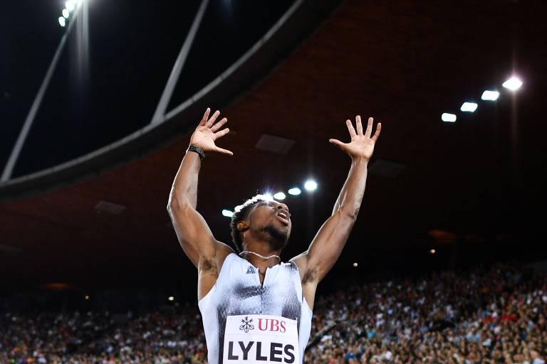 Tido como showman, o americano Noah Lyles, 22, se destaca nos 100 m e nos 200 m