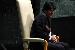 Bolivia's President Evo Morales sits before addressing the 74th session of the United Nations General Assembly at U.N. headquarters in New York City, New York, U.S.