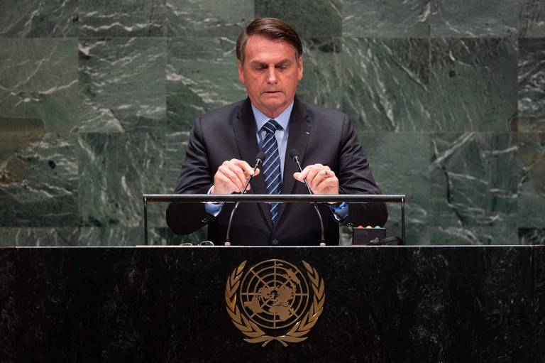 O presidente brasileiro, Jair Bolsonaro, durante discurso na Assembleia Geral da ONU, em Nova York