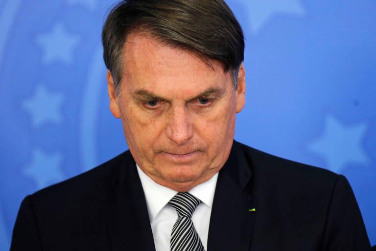O presidente Jair Bolsonaro (PSL) durante solenidade de posse do novo procurador-geral da república, Augusto Aras. Em live, ele distorceu decisão do TSE para defender punição à Folha
