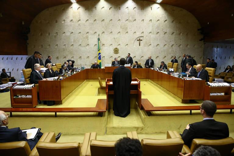 Sessão plenária do STF durante julgamento de recurso relativo às alegações finais em processos de delatores da Lava Jato que pode levar a anulação condenações