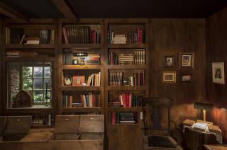 Caderno especial Economia na Arte. Reproducao da biblioteca do escritor Alberto Manguel, primeiro espaco da exposicao A Biblioteca a Noite  (no Sesc Copacabana) onde visitantes acompanham com oculos em 3D passeiro virtual pelas grandes bibliotecas do mundo