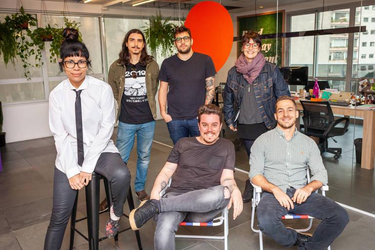 Equipe brasileira da Storytel, empresa sueca de audiolivro