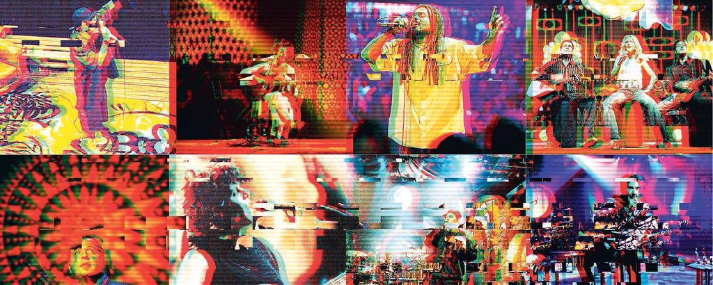 Montagem com diversas cenas de bandas na gravação de Acústico MTV, com efeitos como se fosse uma tv fora do ar
