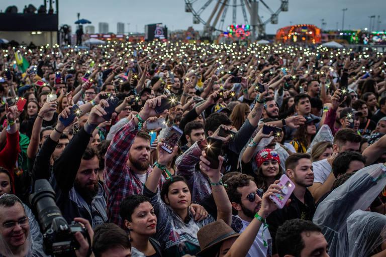 Show da banda Detonautas, no palco Sunset, durante o segundo dia do primeiro final de semana do festival Rock in Rio