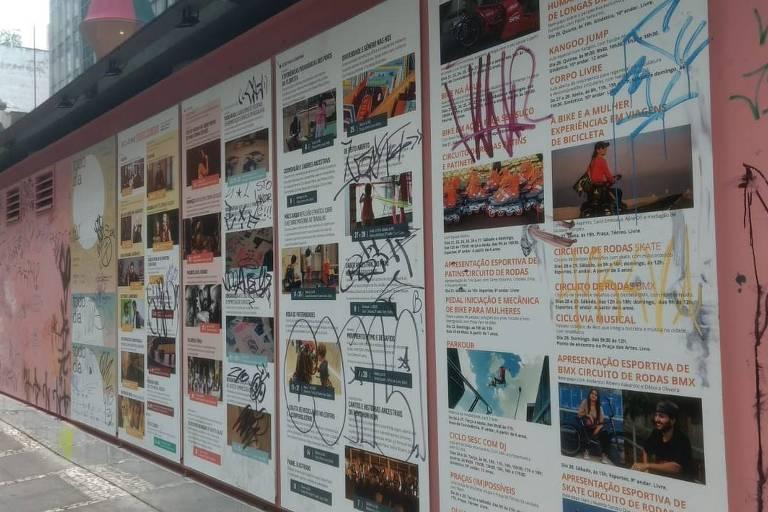 Programação do Sesc 24 de Maio apareceu pichada após festival SP na Rua