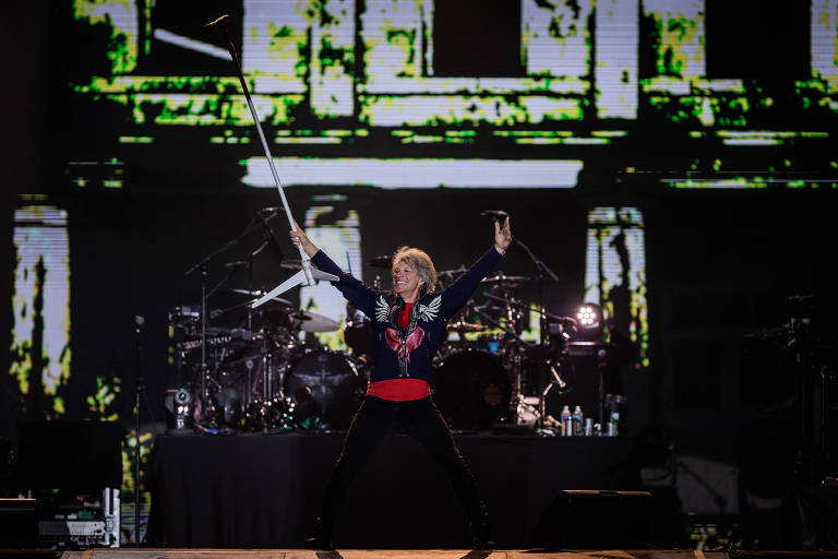 Show do cantor Bon Jovi no palco Mundo, durante o terceiro dia do festival Rock in Rio