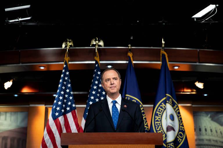 O presidente do Comitê de Inteligência da Câmara dos EUA, Adam Schiff, no Capitólio, em Washington