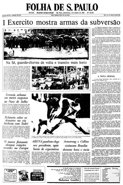 Primeira página da Folha de S.Paulo do dia 2 de outubro de 1969