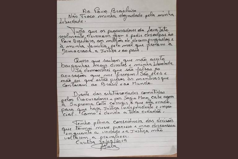 Imagem da carta escrita pelo ex-presidente Lula, preso em Curitiba desde abril de 2018, na qual recusou progressão do regime fechado para o semiaberto