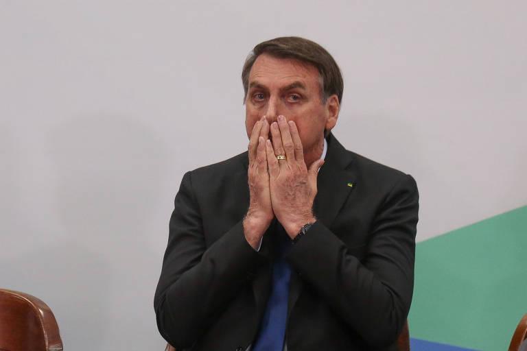 O presidente Jair Bolsonaro participa em cerimônia em Brasília