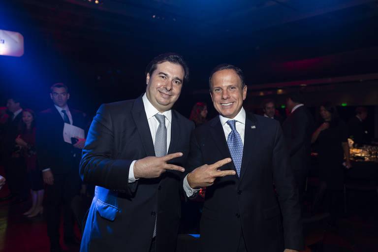 O presidente da Câmara dos Deputados, Rodrigo Maia, e o governador de Sâo Paulo, João Doria