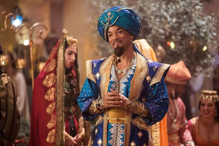 Will Smith encarna o gênio na versão com atores da clássica animação da Disney 'Aladdin'