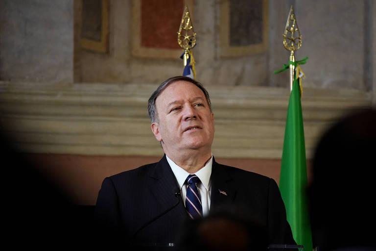 O secretário de Estado dos EUA, Mike Pompeo, durante entrevista coletiva em Roma, na Itália
