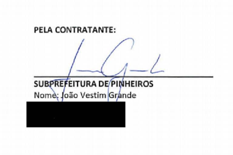 Assinatura do subprefeito João Grande em documento da subprefeitura