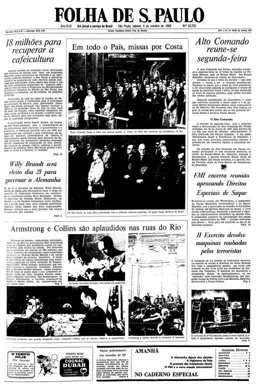 Primeira página da Folha de S.paulo de 4 de outubro de 1969
