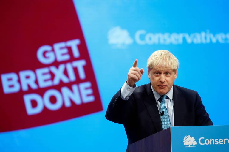 O primeiro-ministro Boris Johnson durante discurso na conferência anual do Partido Conservador, em Manchester
