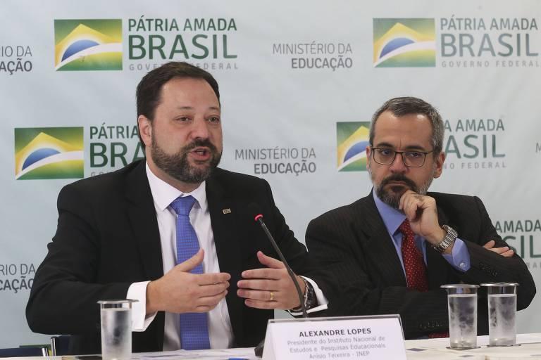 O presidente do Inep, Alexandre Lopes, com o ministro da Educação, Abraham Weintraub, em evento em Brasília