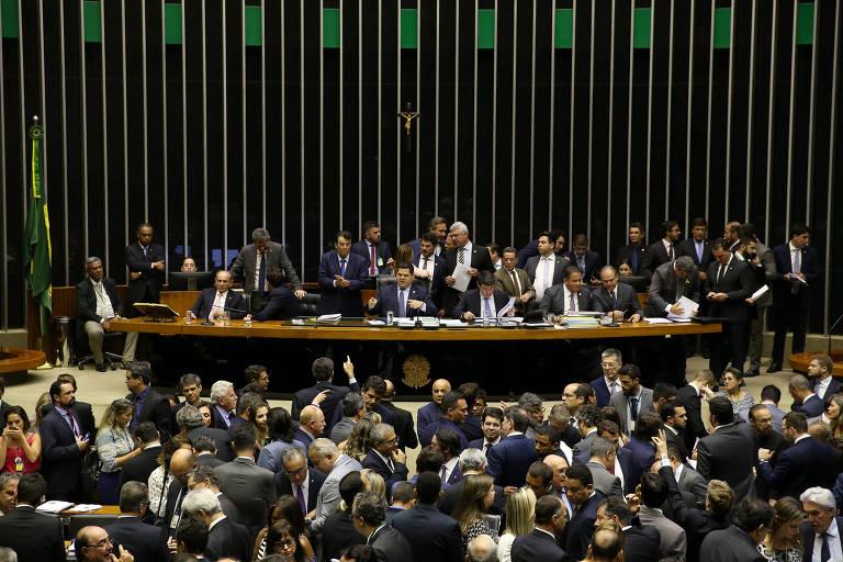 Plenário da Câmara dos Deputados durante sessão do Congresso Nacional, sob a presidência do senador Davi Alcolumbre (DEM-AP)