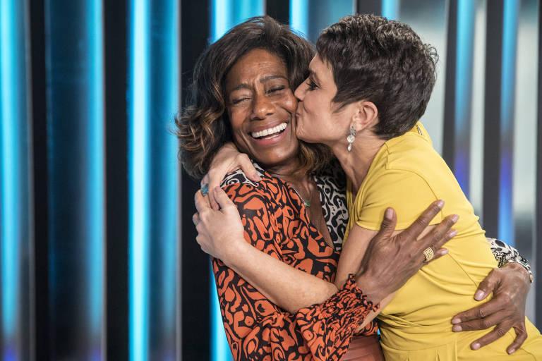 Glória Maria e Sandra Annenberg gravam juntas o Globo Repórter