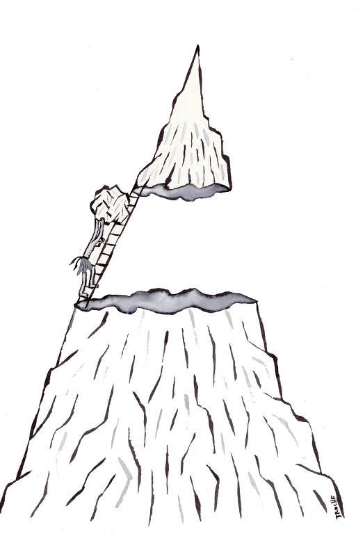 Na mitologia grega, Sísifo recebeu como punição dos deuses a tarefa de rolar uma pedra todos os dias montanha acima; o ilustrador Troche fez para a Folha interpretações desse e de outros mitos que representam os desafios enfrentados por empresário