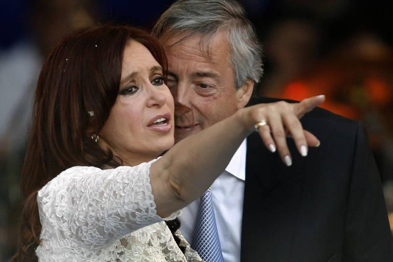O casal Cristina e Nestor Kirchner em foto de 2010