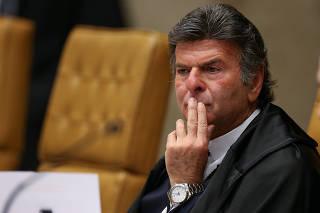 O ministro Luiz Fux durante sessão do STF