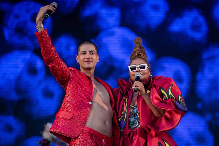 Gaby Amarantos e Jaloo no palco do Rock in Rio