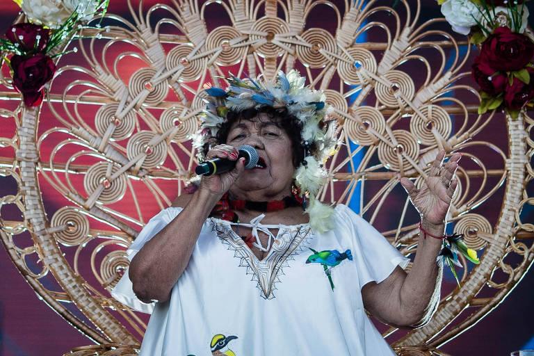Dona Onete durante show no Rock in Rio 2019