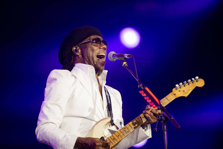 Nile Rodgers no palco do Rock in Rio