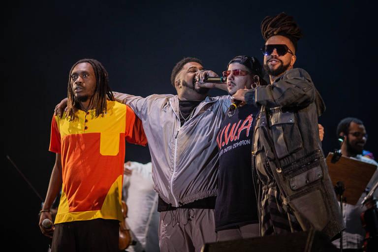 Rael, Agir, Baco Exu do Blues e Rincon Sapiência no palco Sunset do Rock in Rio