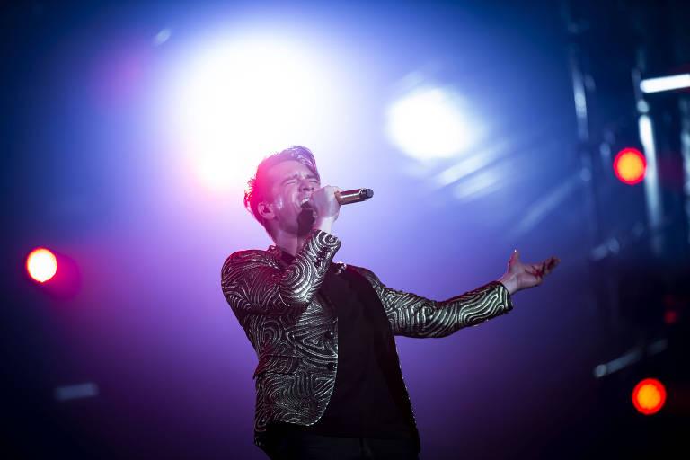 Brendon Urie, do Panic! At the Disco, em apresentação no Rock in Rio