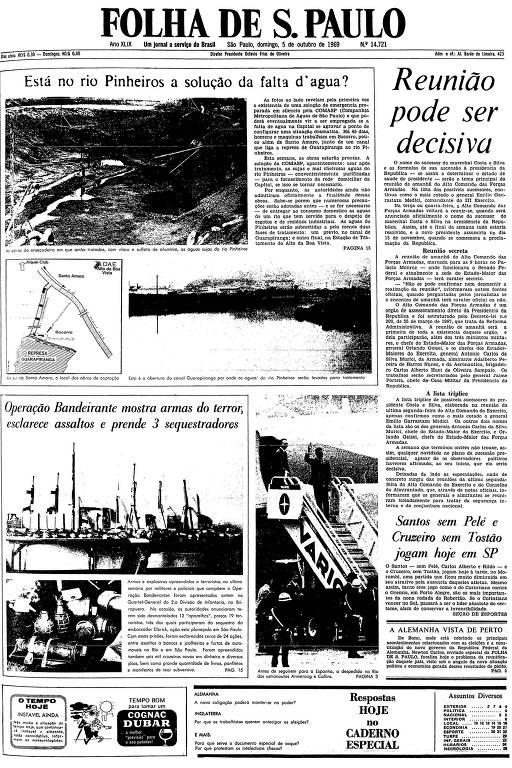 Primeira página da Folha de S.Paulo de 5 de outubro de 1969