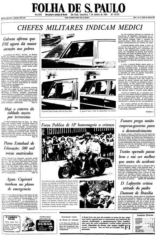 Primeira página da Folha de S.Paulo de 7 de outubro de 1969
