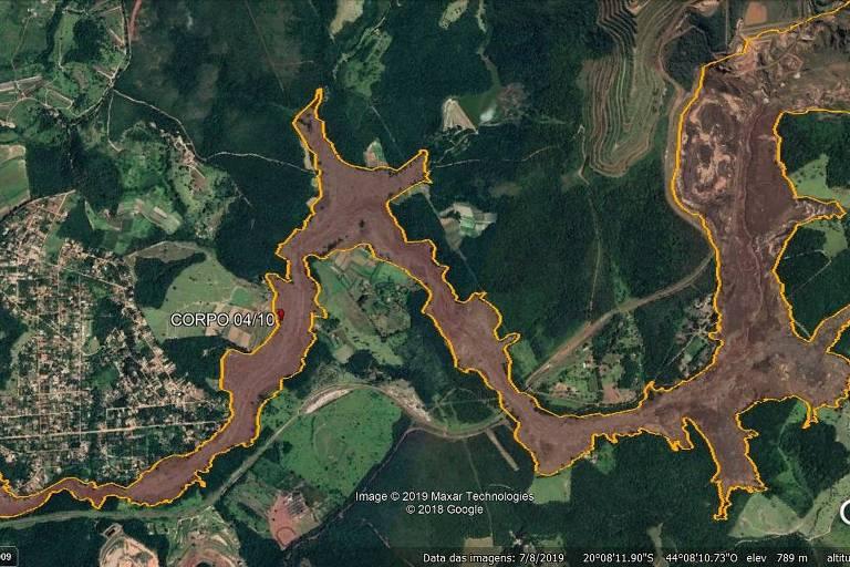 Área onde foi encontrado corpo de mais uma vítima do rompimento da barragem na mina Córrego do Feijão, em 4 de outubro