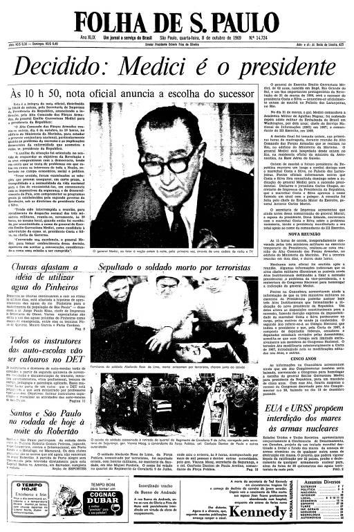 Primeira página da Folha de S.Paulo de 8 de outubro de 1969