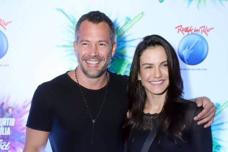 Malvino Salvador e Kyra Gracie no camarote Ford no terceiro dia do festival Rock in Rio 2019