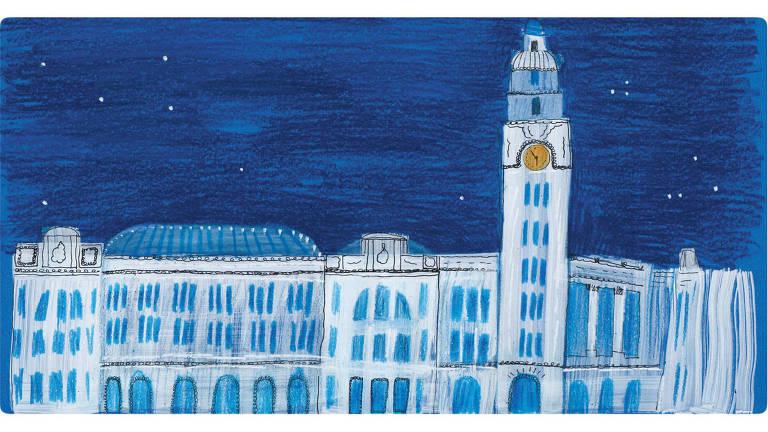 Ilustração do edifício em tons de azul