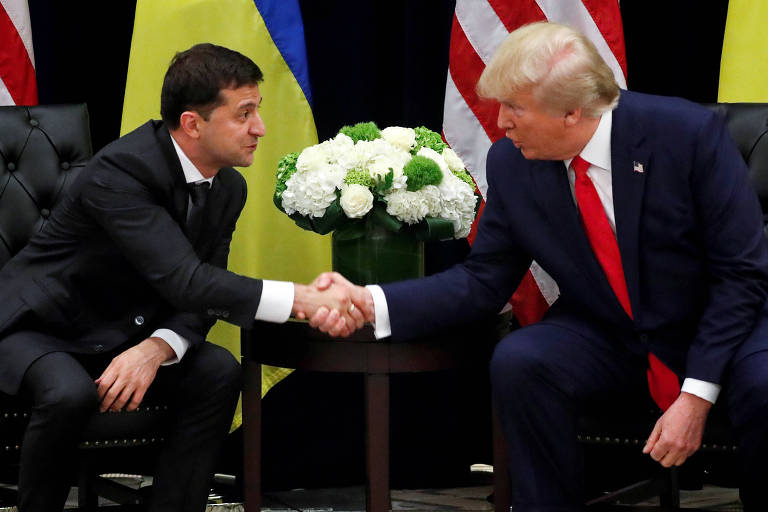 Encontro entre o presidente ucraniano Volodimir Zelenski e o americano Donald Trump em setembro