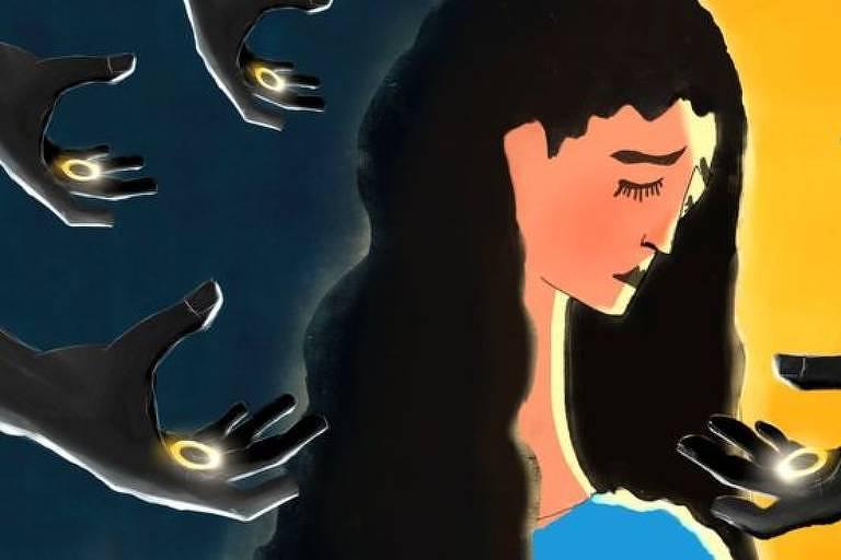 Ilustração mostra mulher jovem triste de olhos fechados. Ao redor, diversas mãos na cor preta oferecem aneis de casamento.