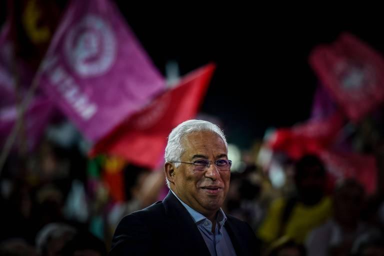 O primeiro-ministro português António Costa em evento da campanha eleitoral em Lisboa