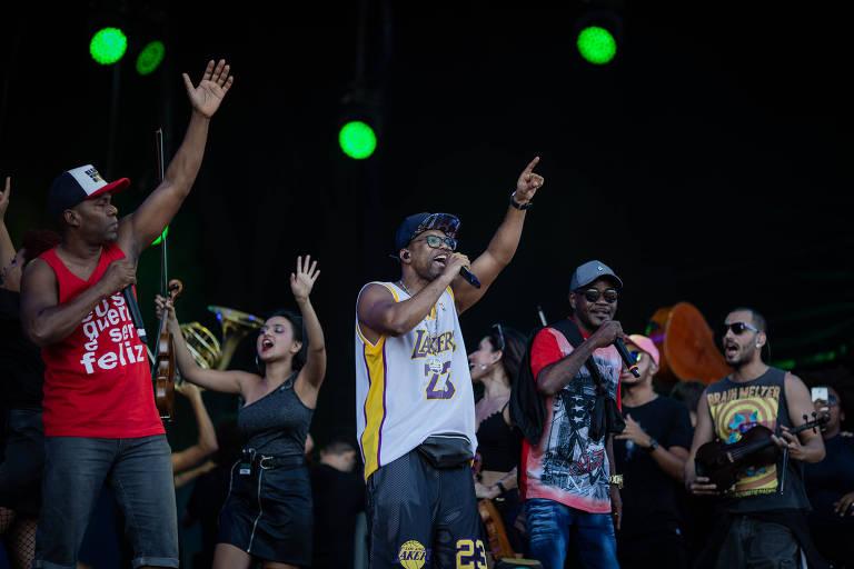 Show da Funk Orquestra com Ludimilla, Fernanda Abreu e Buchecha, no palco Sunset, durante o terceiro dia do segundo final de semana do festival Rock in Rio