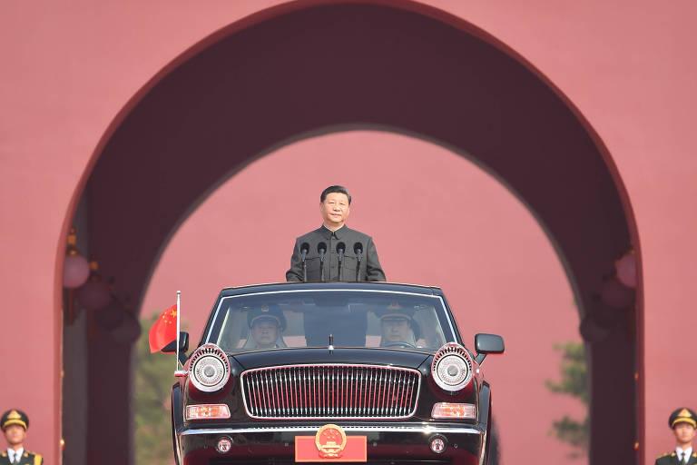 O líder Xi Jinping durante as celebrações dos 70 anos da Revolução Chinesa
